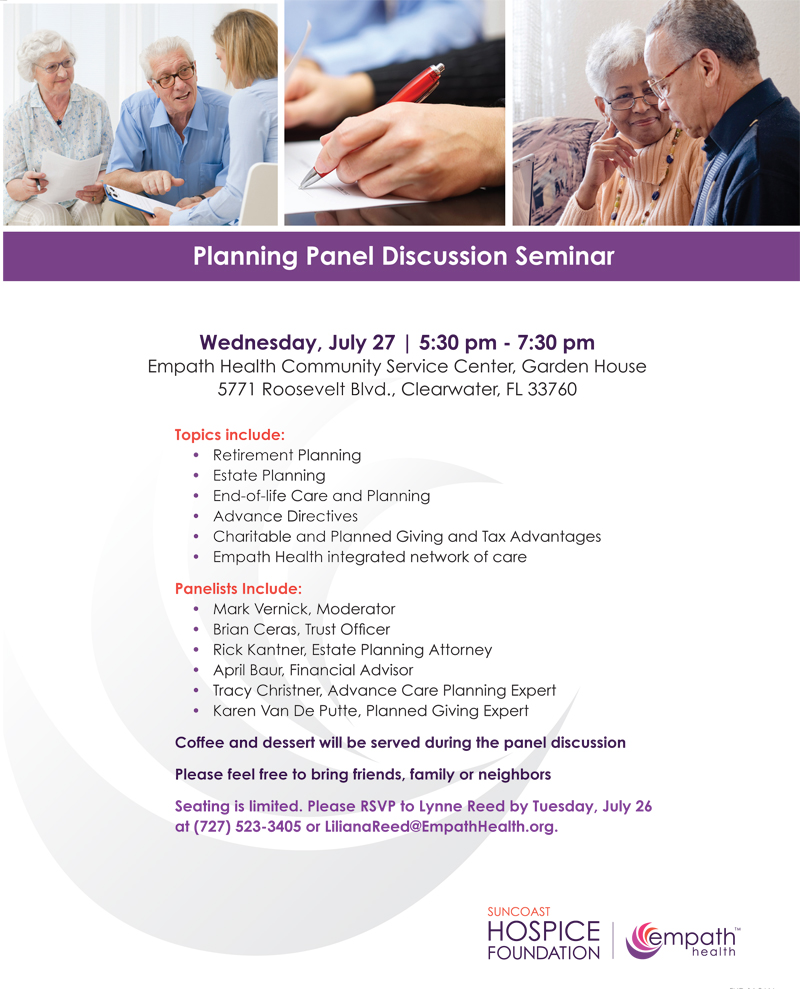 Expert Planning Panel Seminar @ Suncoast Hospice | Empath Health - Garden House