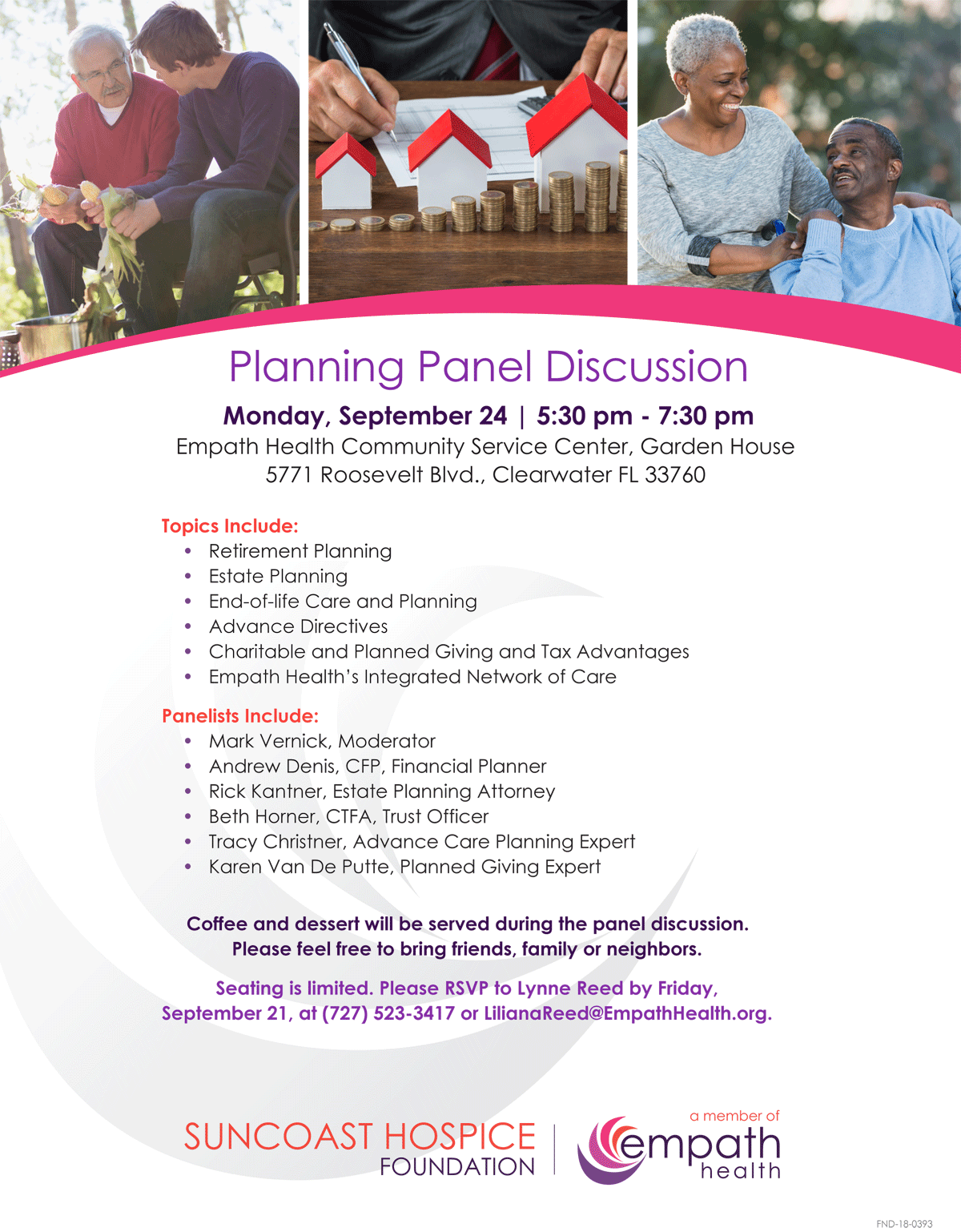 Expert Planning Panel Discussion @ Suncoast Hospice | Empath Health - Garden House | Clearwater | Florida | United States