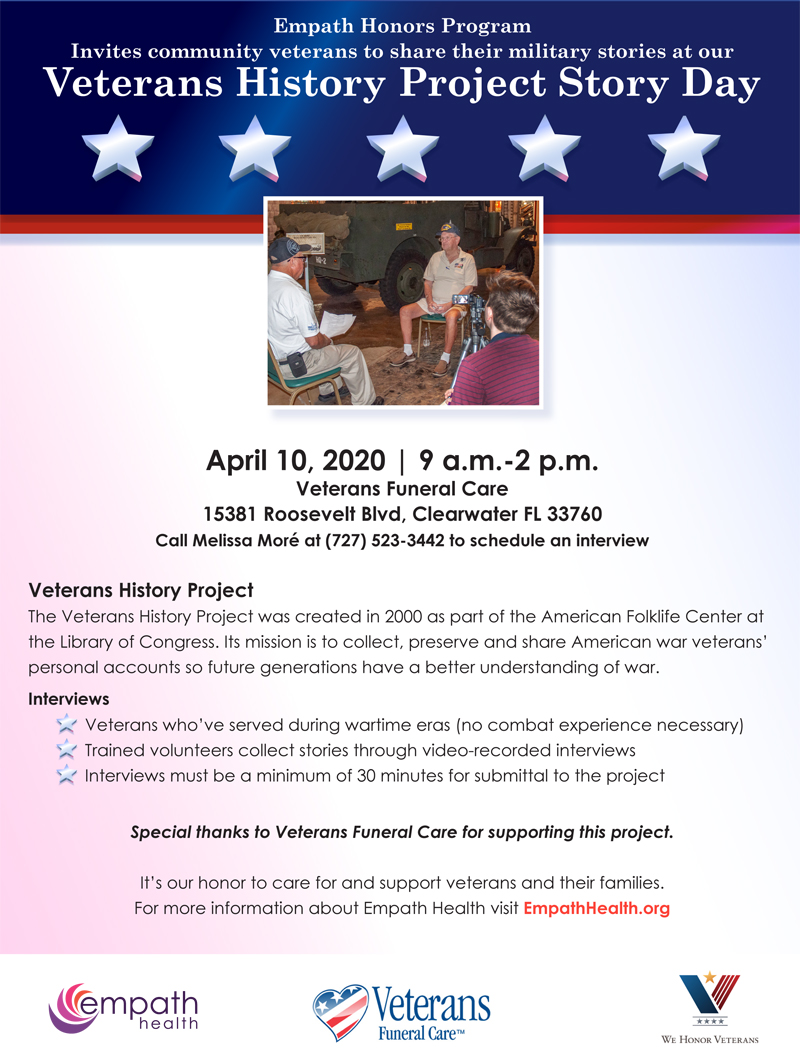 Postponed - Veterans History Project Story Day @ Veterans Funeral Care | Clearwater | Florida | United States