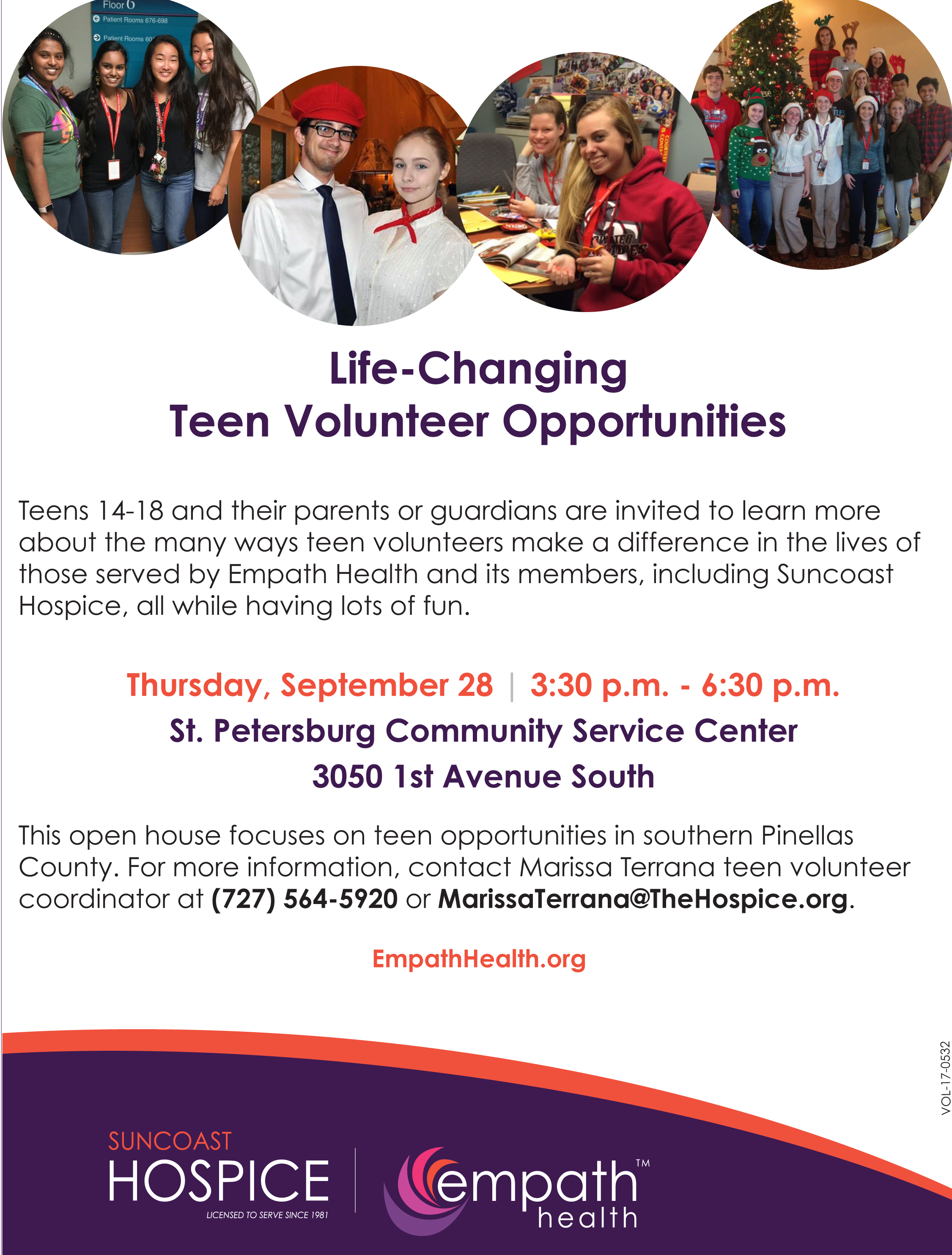 Teen Volunteer Recruitment Open House @ Suncoast Hospice | Empath Health | Clearwater | Florida | United States