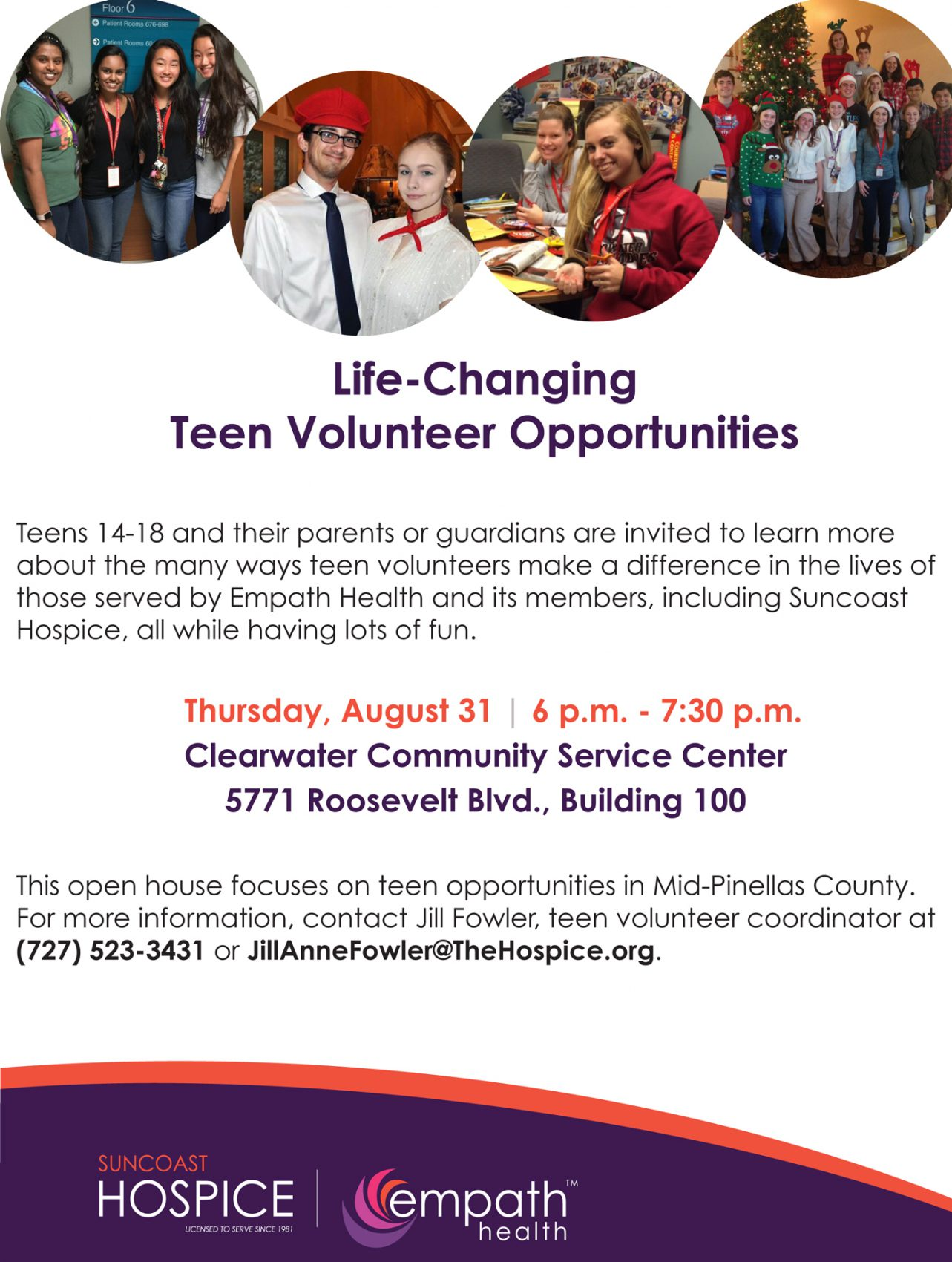 Teen Volunteer Recruitment Open House @ Suncoast Hospice | Empath Health