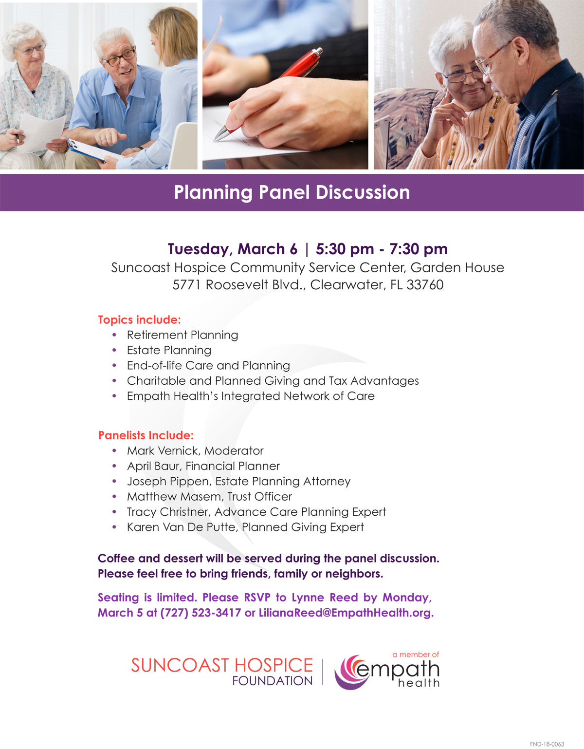 Expert Planning Panel Seminar @ Suncoast Hospice | Empath Health - Garden House | Clearwater | Florida | United States