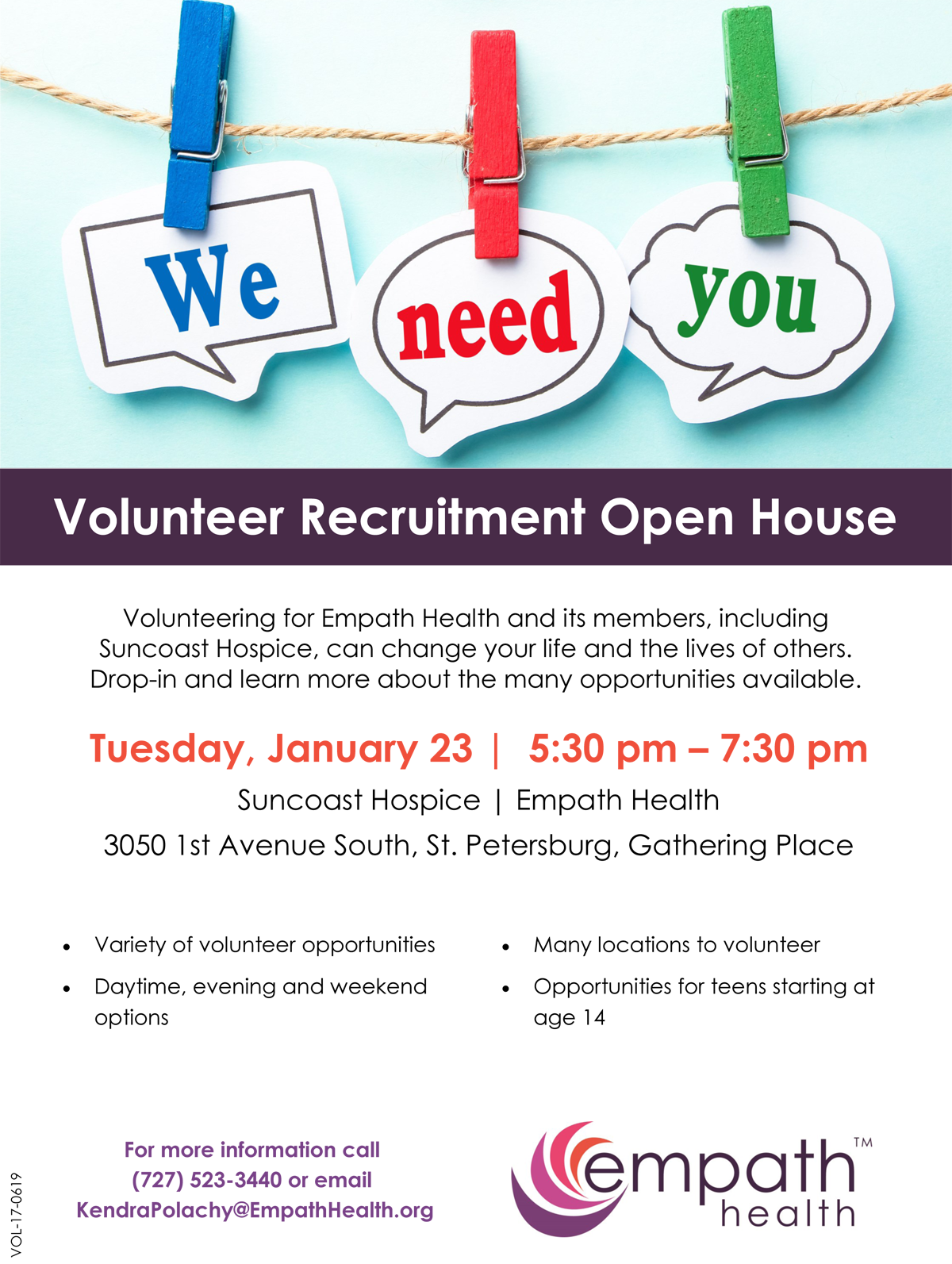 Volunteer Recruitment Open House @ Suncoast Hospice | Empath Health Service Center, Gathering Place  | Saint Petersburg | Florida | United States