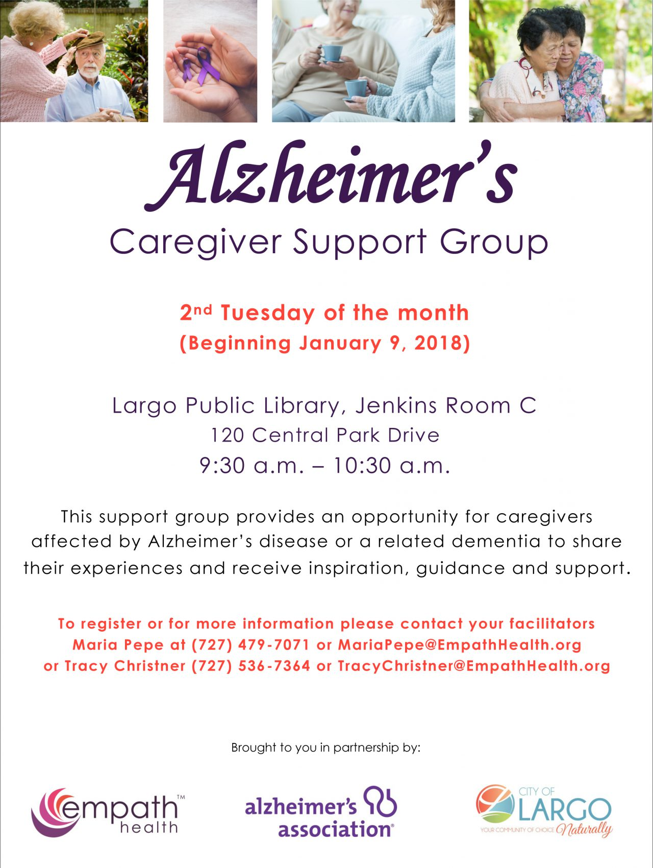Alzheimer's Caregiver Support Group @ Largo Public Library, Jenkins Room C | Largo | Florida | United States