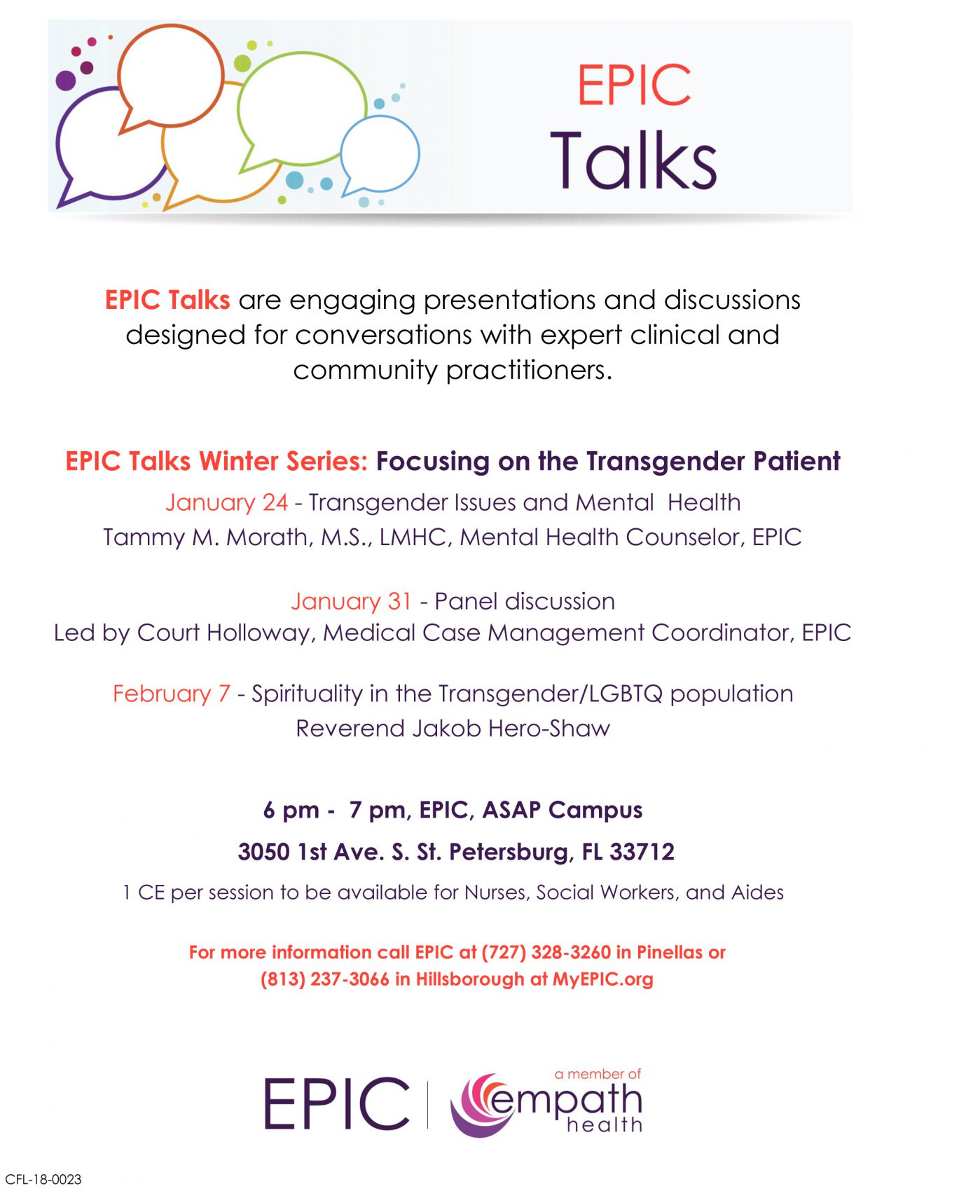 Focusing on the Transgender Patient - A Panel Discussion @ EPIC (Empath Partners In Care) ASAP Campus | Saint Petersburg | Florida | United States