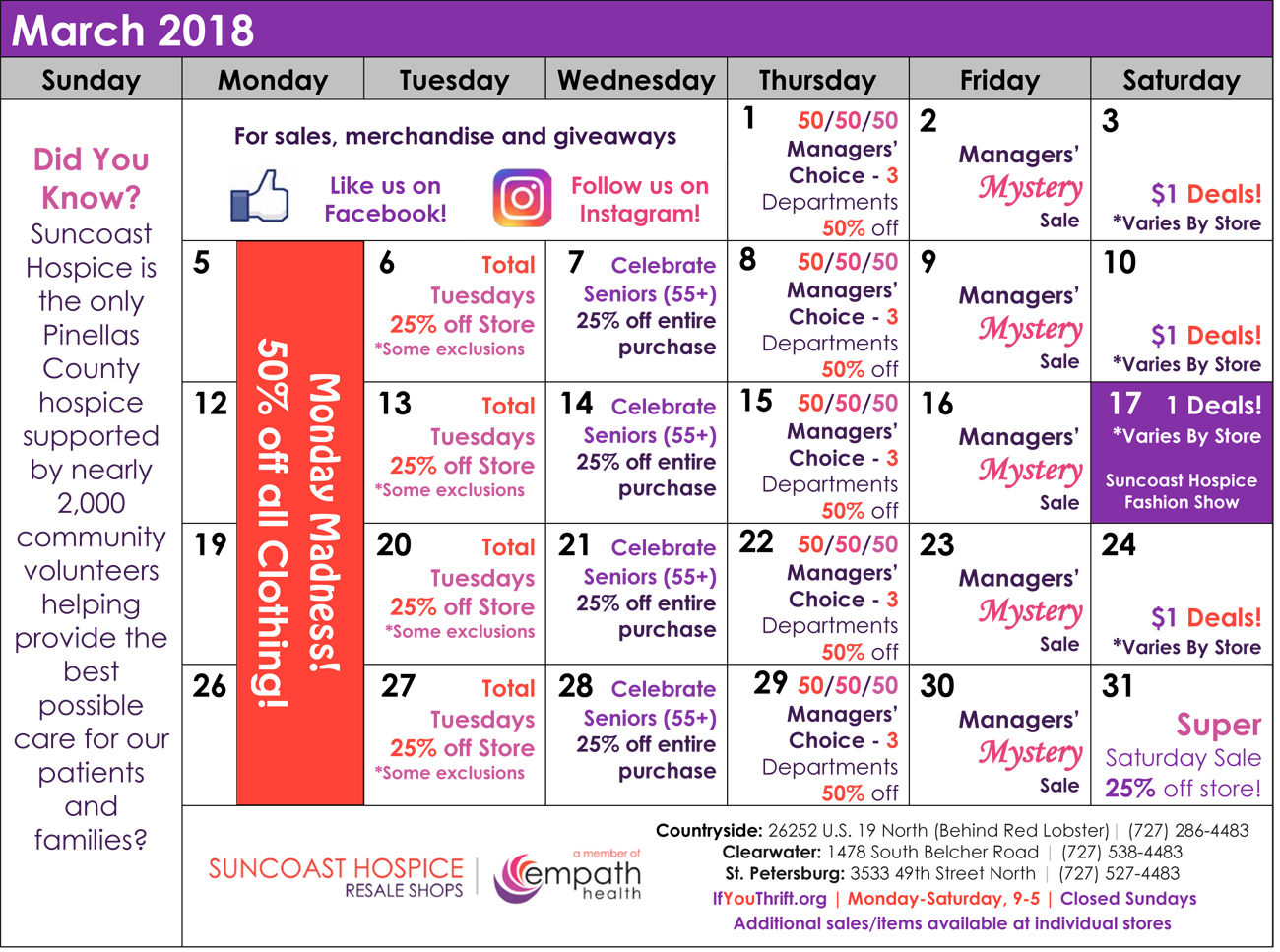 Resale Shops March Sale and Calendar @ Suncoast Hospice Resale Shops  | Florida | United States