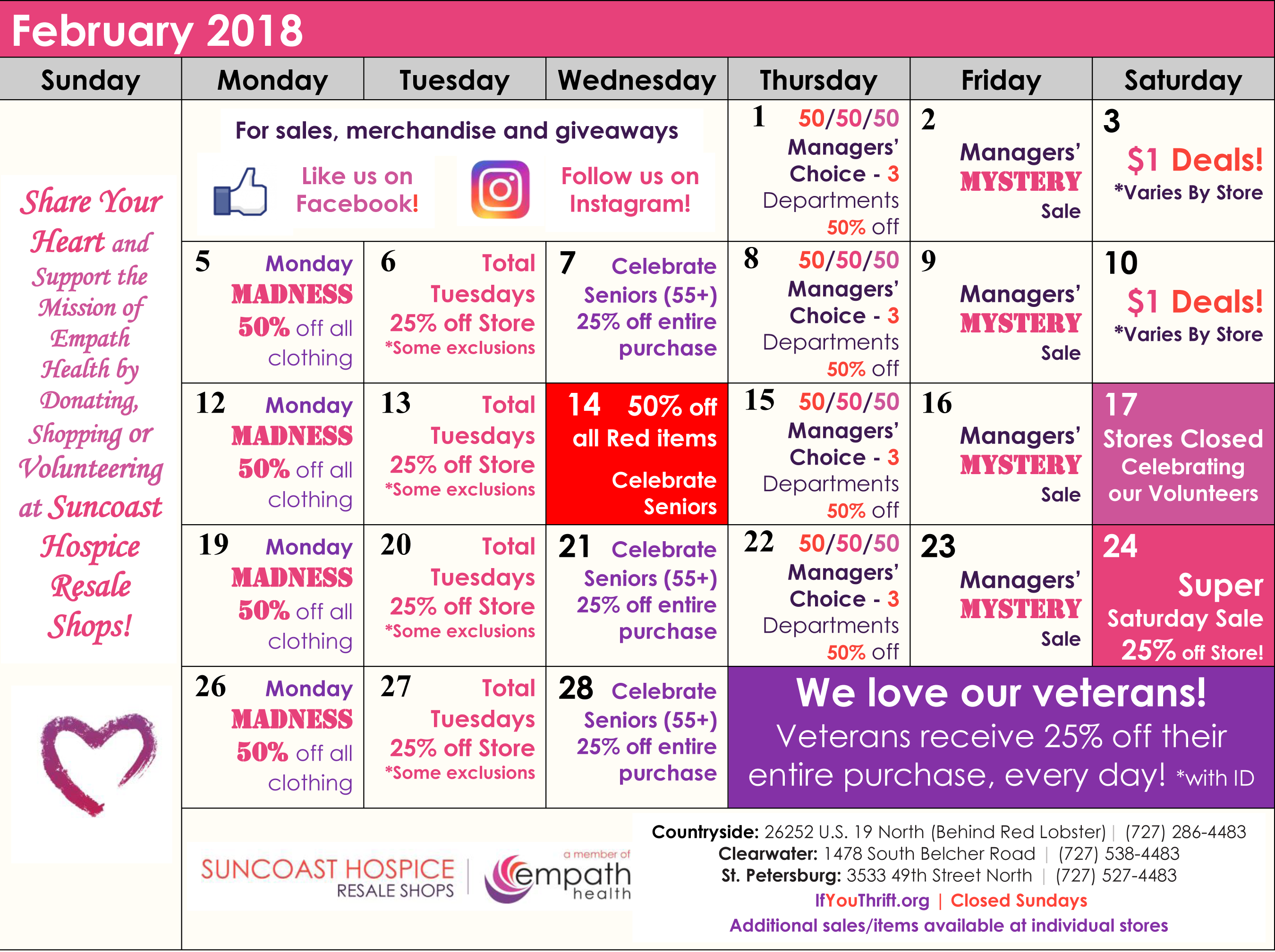 Resale Shops February Sale and Calendar @ Suncoast Hospice Resale Shops  | Florida | United States