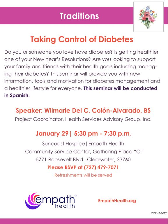 Taking Control of Diabetes - Workshop En Espanol @ Suncoast Hospice|Empath Health Community Service Center, Gathering Place C | Clearwater | Florida | United States
