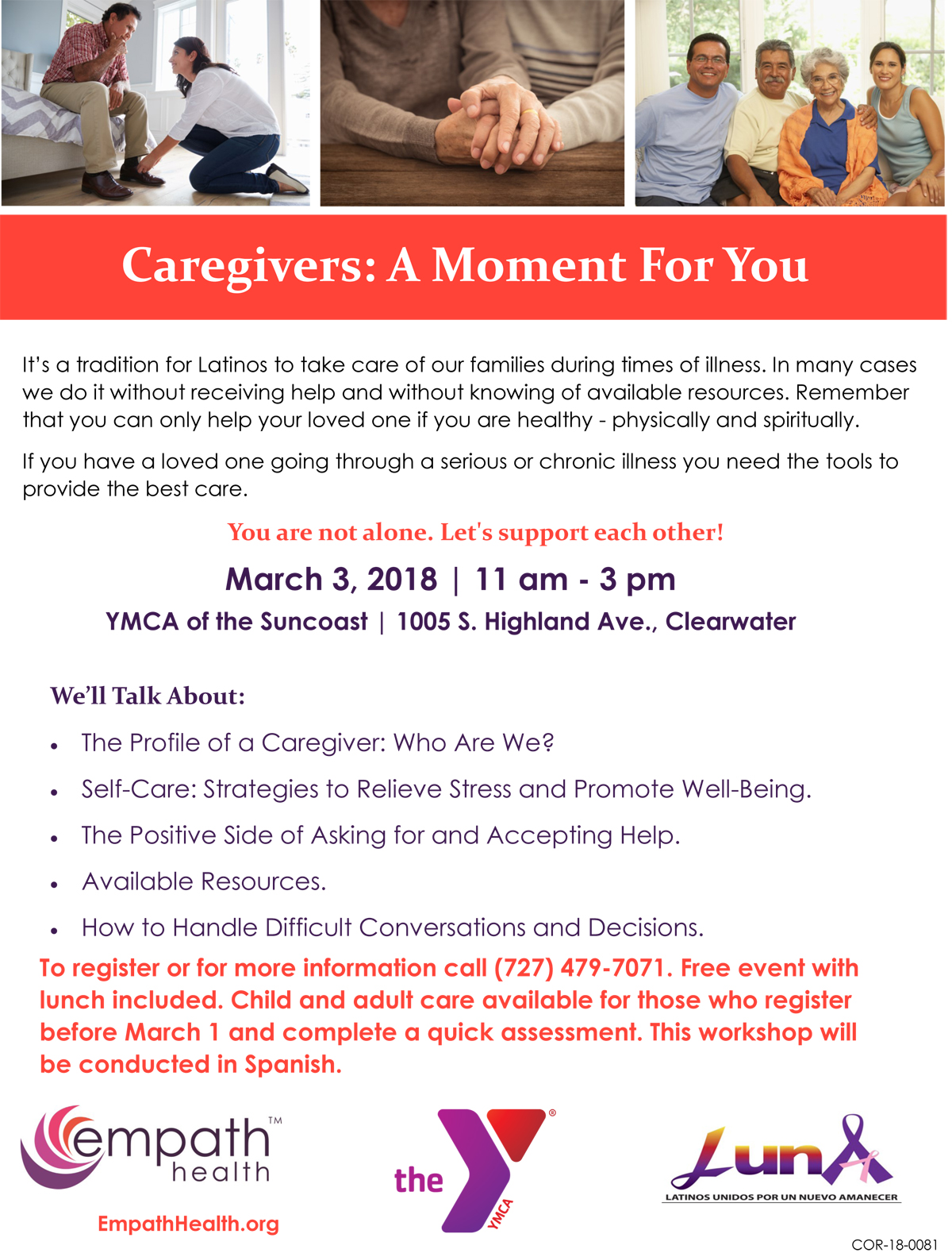 Caregivers: A Moment For You (This workshop is conducted in Spanish) @ YMCA of the Suncoast