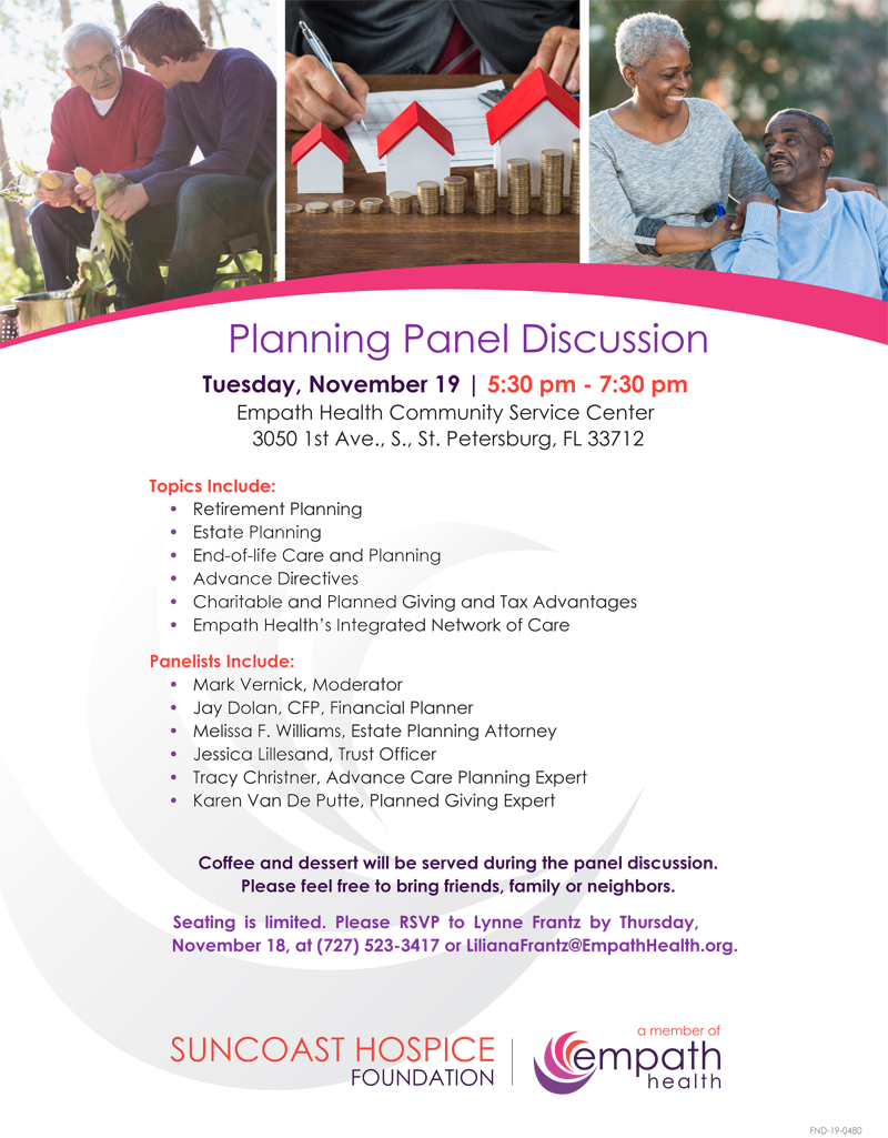 Expert Planning Panel Discussion @ Suncoast Hospice | Empath Health Service Center | St. Petersburg | Florida | United States