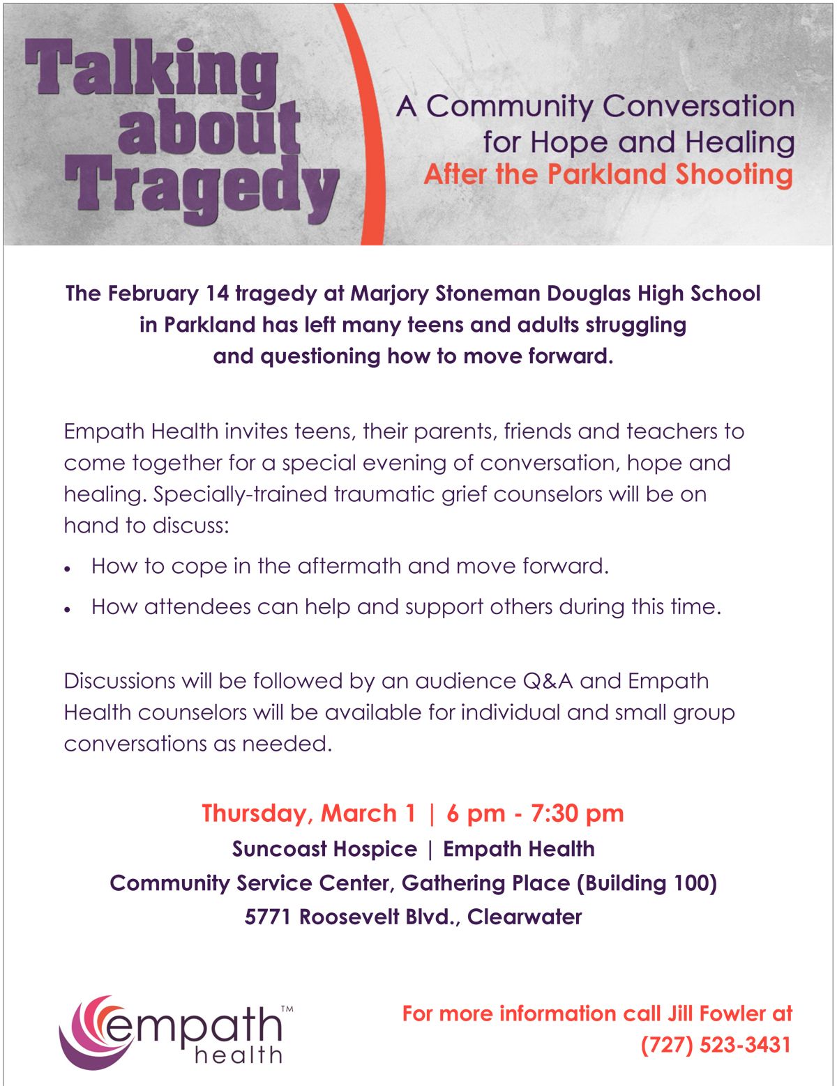 Talking About Tragedy: The Parkland Shooting @ Suncoast Hospice | Empath Health Service Center | Clearwater | Florida | United States