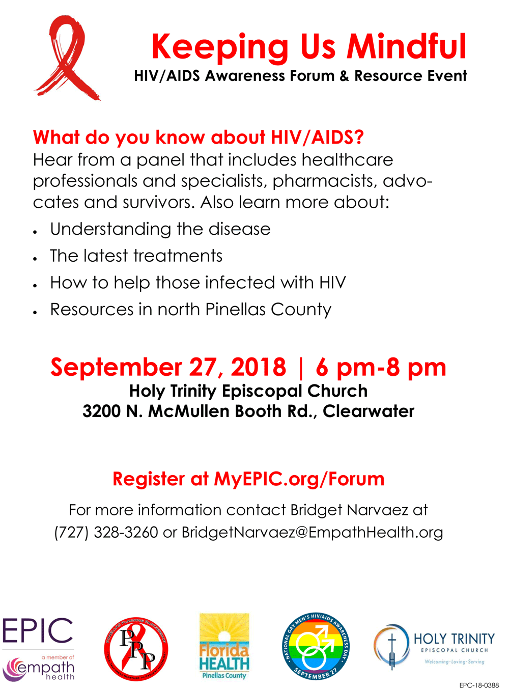 HIV/AIDS Awareness Forum, Roundtable and Resource Event @ Holy Trinity Episcopal Church | Clearwater | Florida | United States