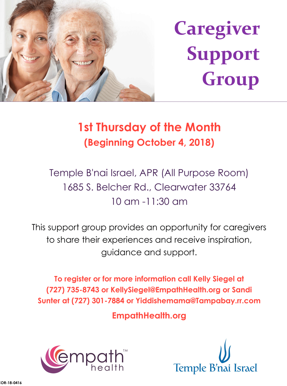 Jewish Caregiver Support @ Temple B'nai Israel | Clearwater | Florida | United States