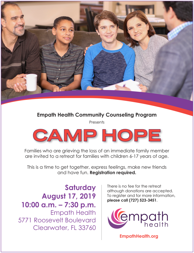 Camp Hope for Grieving Families @ Suncoast Hospice | Empath Health Service Center | Clearwater | Florida | United States