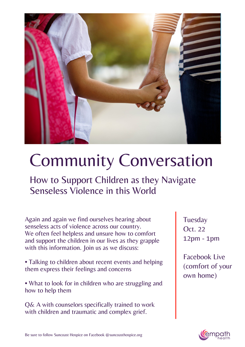 Community Conversation: How to Support Children as they Navigate Senseless Violence in this World @ Facebook Live Event