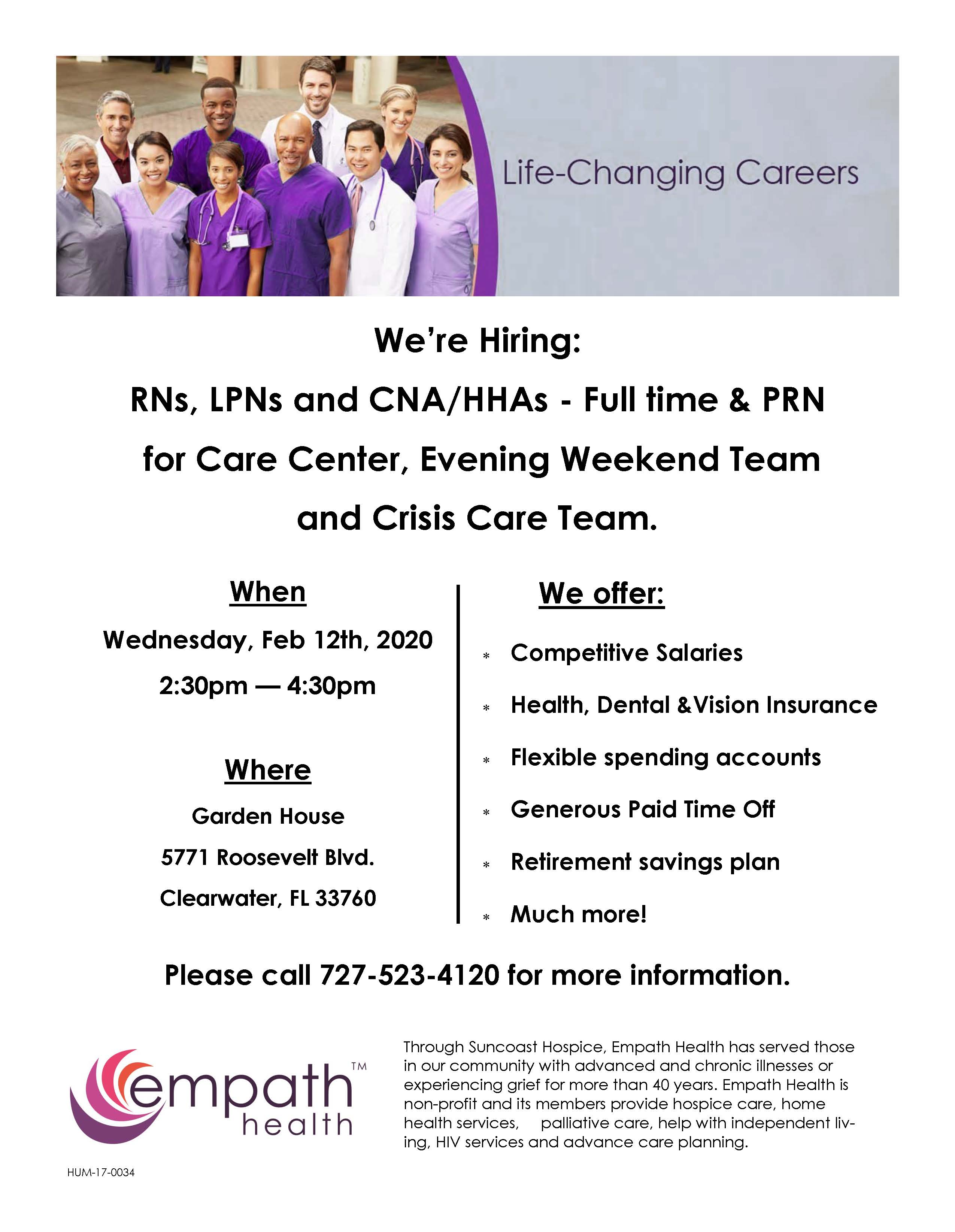 Career Fair: Now Hiring RNs, LPNs and CNA/HHAs - Full Time & PRN for Care Center, Evening Weekend Team and Crisis Care Team @ Garden House | Clearwater | Florida | United States